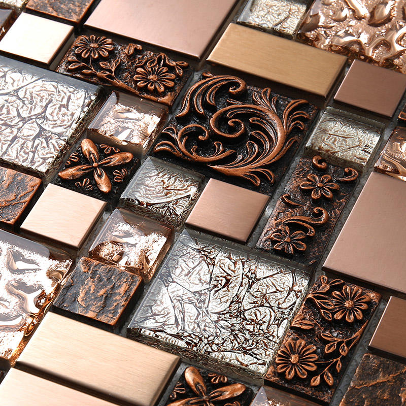 Heng Xing-Metallic Glass Tile Rose Gold Resin Metallic Glass Mosaic Tile Hxl09-2