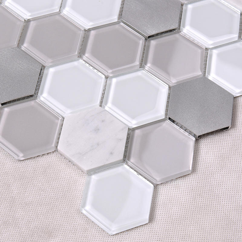 Heng Xing-Grey Hexagon Backsplash Glass Tile mix Aluminum Alloy and Marble Back Splash Mosaic Tile H-1