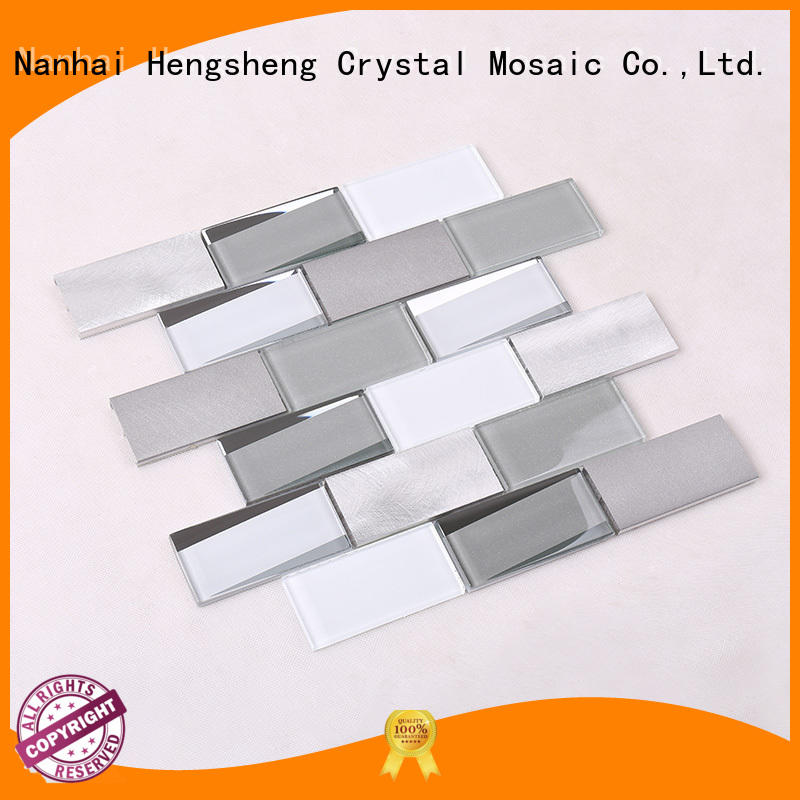 glass tiles for kitchen herringbone glass mosaic tile Hengsheng Brand