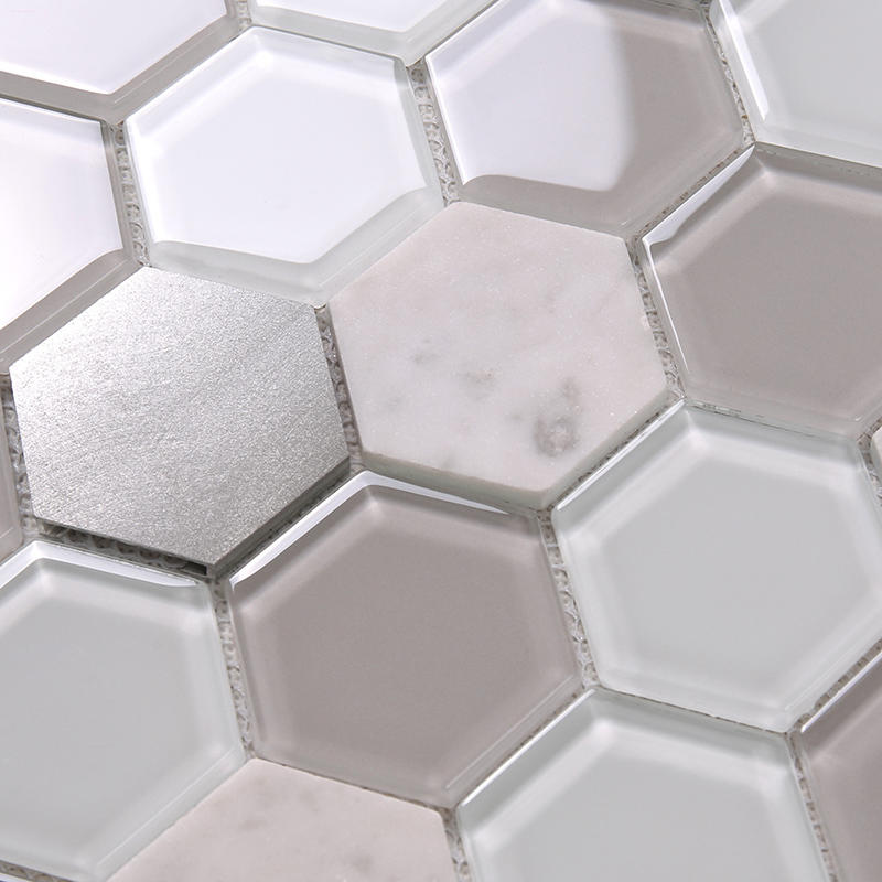 Heng Xing-Grey Hexagon Backsplash Glass Tile mix Aluminum Alloy and Marble Back Splash Mosaic Tile H