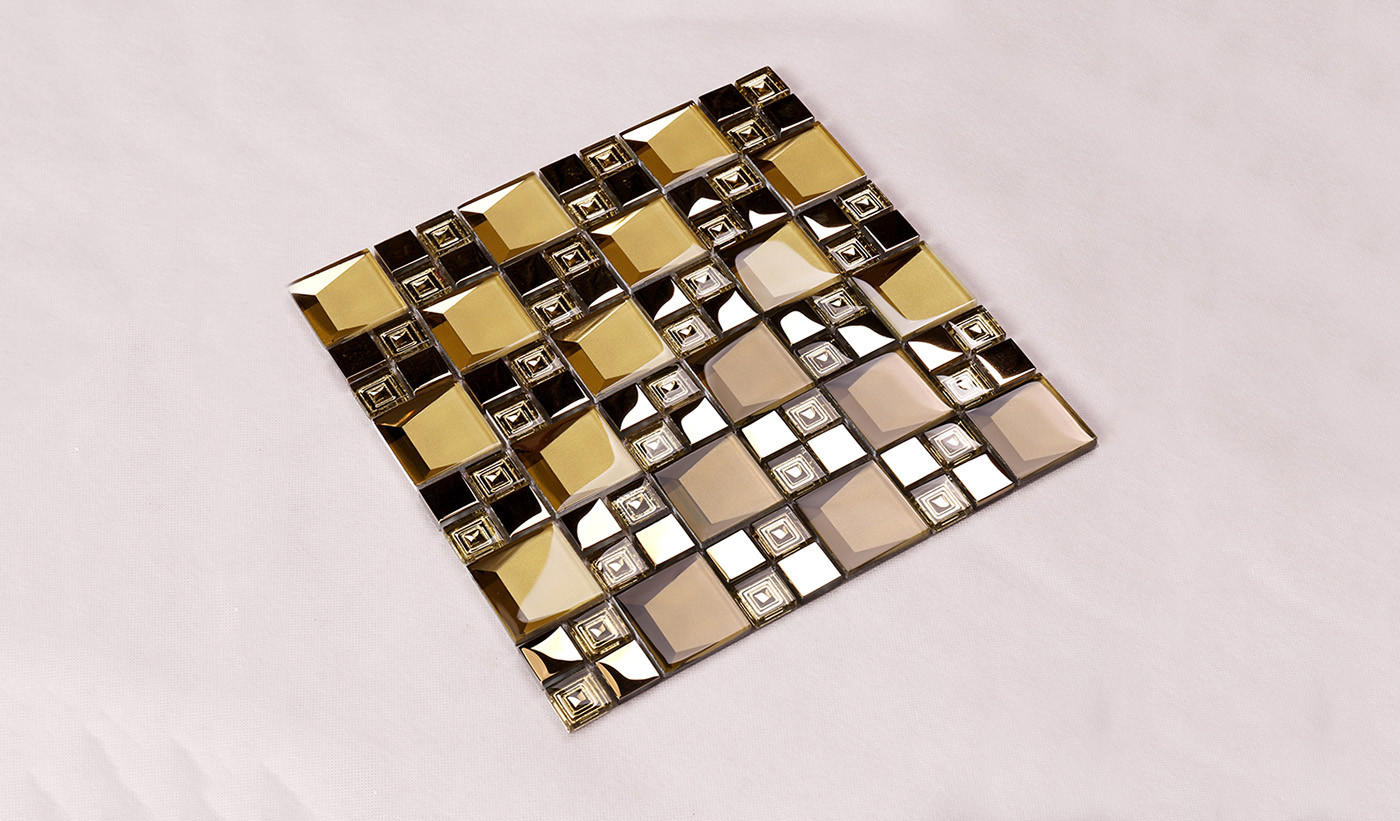 Heng Xing-Manufacturer Of Glass Wall Tiles Golden 3d Beveled Electroplated Glass