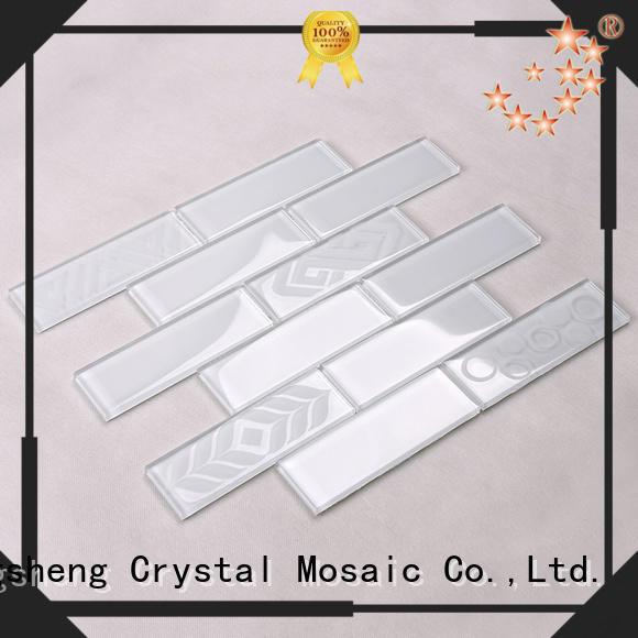 Hengsheng Brand beveled stone white glass tiles for kitchen mosaic