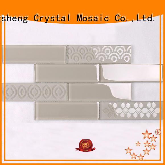 Heng Xing trapezoid iridescent glass tile supplier for villa