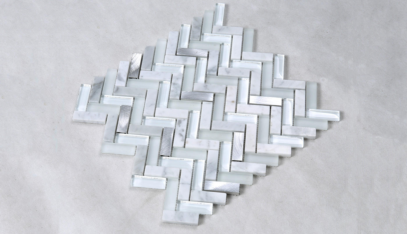 Heng Xing-Pool Glass Tile Manufacture | White Herringbone Glass Stone
