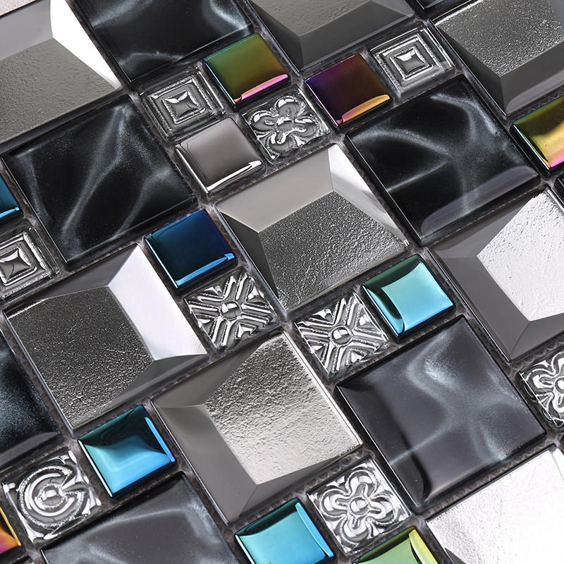 Heng Xing-Oceanside Glass Tile, Iridescent Grey Beveled Cold Spray Glass Mosaic Tiles-2