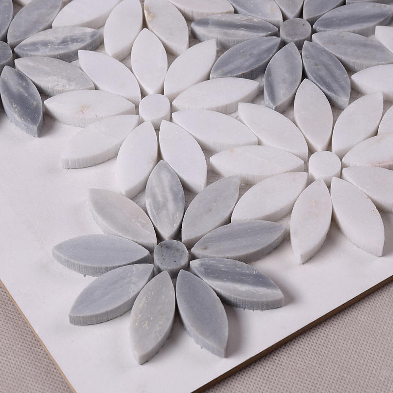Heng Xing-Beautiful White and Grey Flower Marble Mosaic Floor and Backsplash Tile HSC44-1