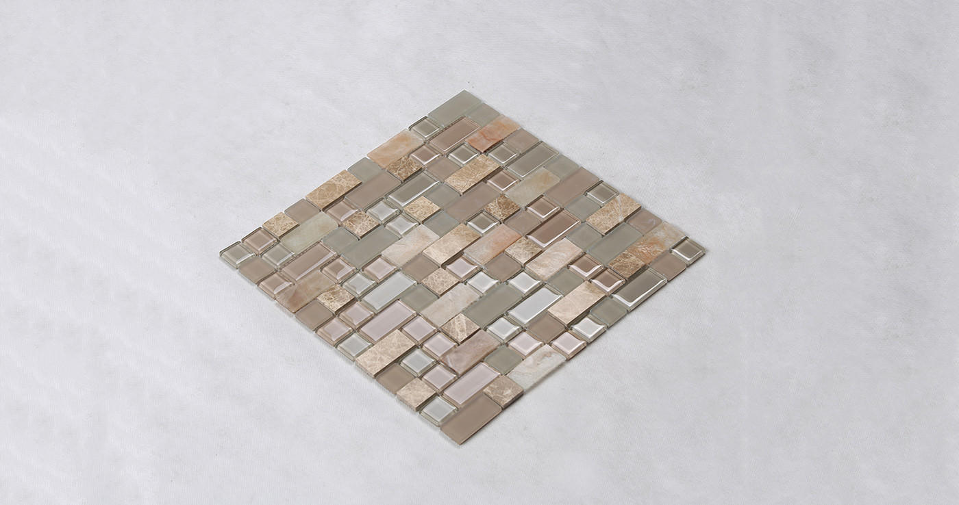 Heng Xing-Find Glass Pool Tile Square Tans Glass Mix Marble Mosaic Tile