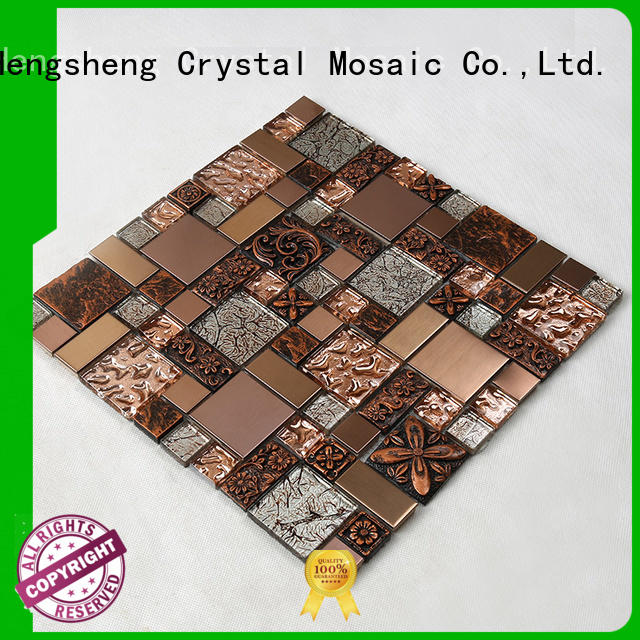 hexagon home metal Hengsheng Brand glass mosaic tile