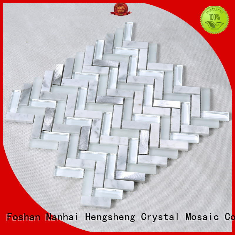 Hengsheng Brand square light beige custom swimming pool mosaics