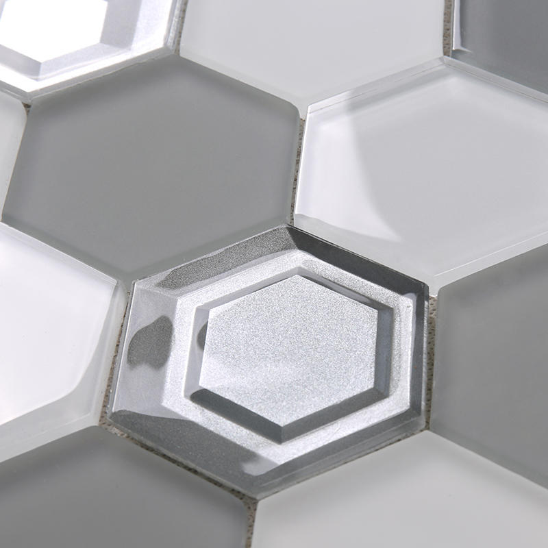 Heng Xing-Glass Subway Tile 3x3 Grey And White Hexagon Glass Mosaic-2