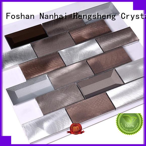 Heng Xing 2x2 metal mosaic tile backsplash customized for villa