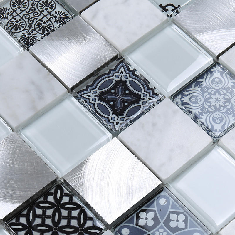 Heng Xing-High-quality Red Glass Tile | 3d Printing Square Glass Stone Metal Mosaic-2