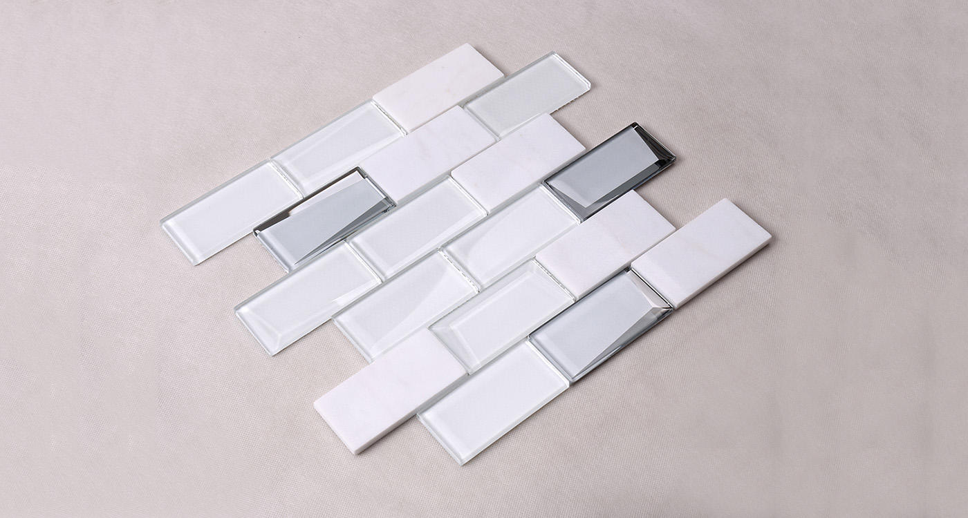Heng Xing-Manufacturer Of Blue Pool Tile White Square Beveling Glass Mosaic Bathroom
