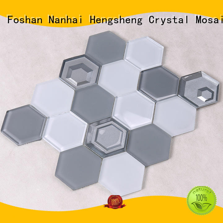 Hengsheng Brand hexagon mosaic resin glass tiles for kitchen home