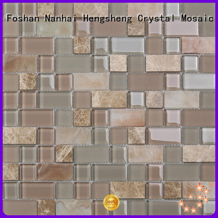 Heng Xing beveled glass mosaic tile factory price for living room