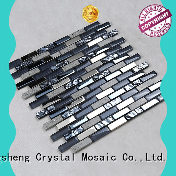 beveling glass metal stone mosaic tile supplier for bathroom