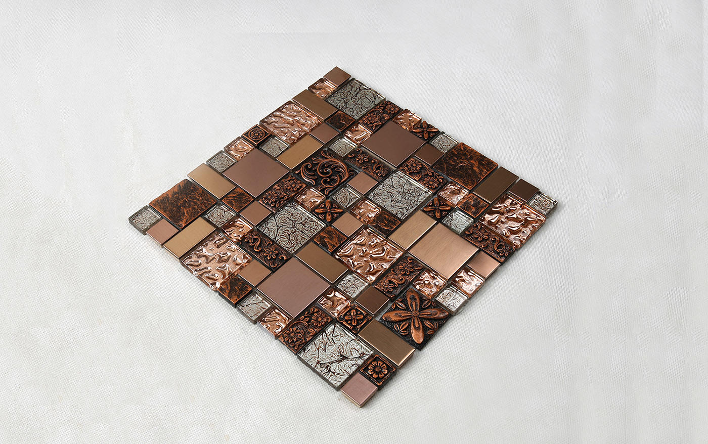 Heng Xing-Rose Gold Resin Metallic Glass Mosaic Tile Hxl09 | Red Glass Tile Factory