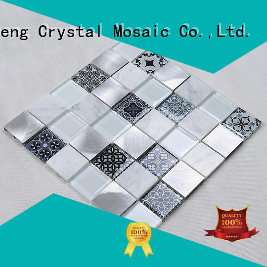 beveled mix glass tiles for kitchen decoration jy025 Hengsheng Brand