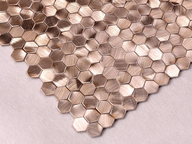 Heng Xing-Metallic Kitchen Tiles, Rose Gold Hexagon Stainless Steel Mosaic-1