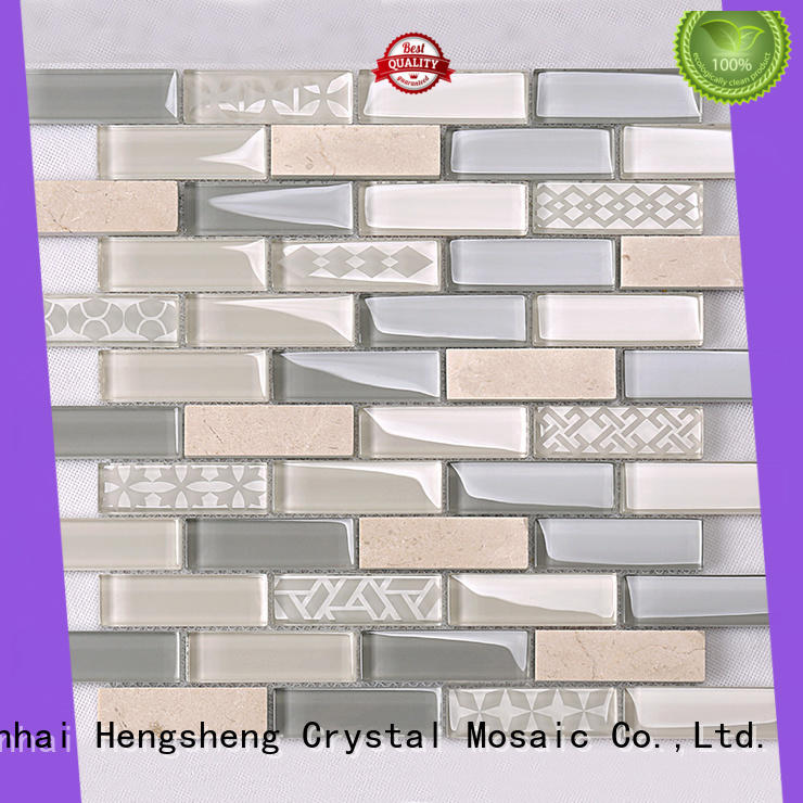 rose glass wall tiles wholesale for hotel Heng Xing