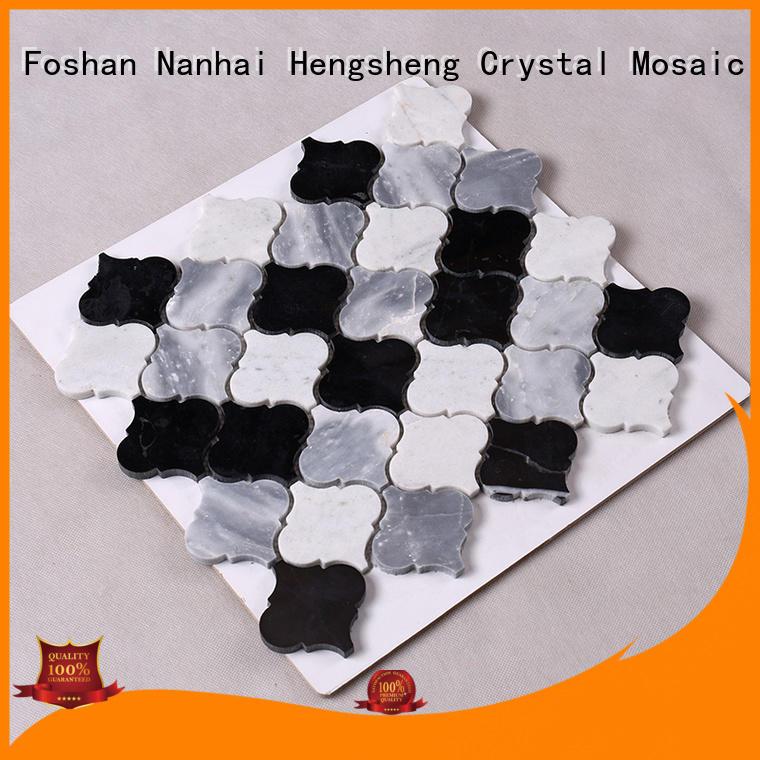 Heng Xing marble pebble stone mosaic tile black for backsplash