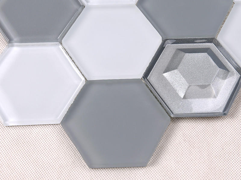 Heng Xing-Glass Subway Tile 3x3 Grey And White Hexagon Glass Mosaic-1
