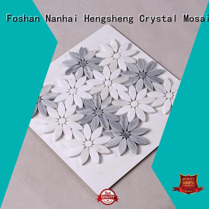 Custom gray floor stone mosaic Hengsheng hexagon