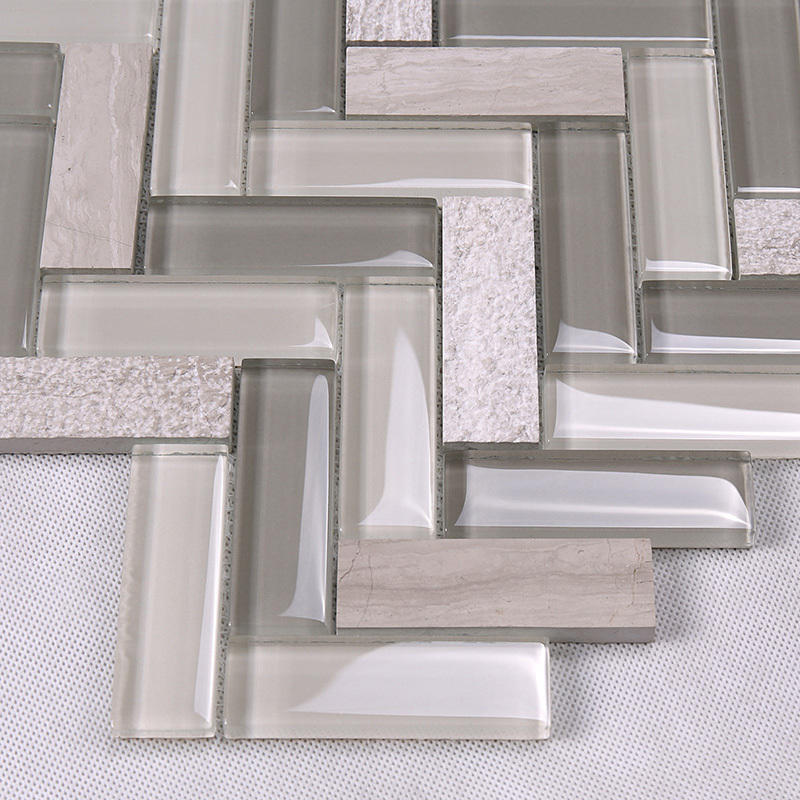 Heng Xing-Herringbone Kitchen Glass Stone Mosaic Wall Tile HYM19-1