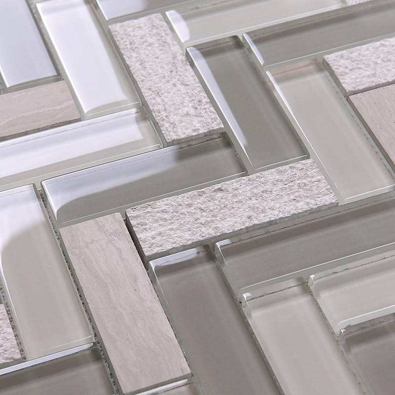 Heng Xing-Find Kitchen Backsplash Tile Herringbone Kitchen Glass Stone Mosaic Tile-2