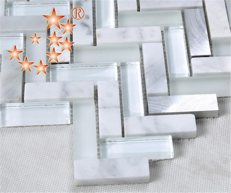 Heng Xing-White Herringbone Glass Stone Metal Mosaic YMS37