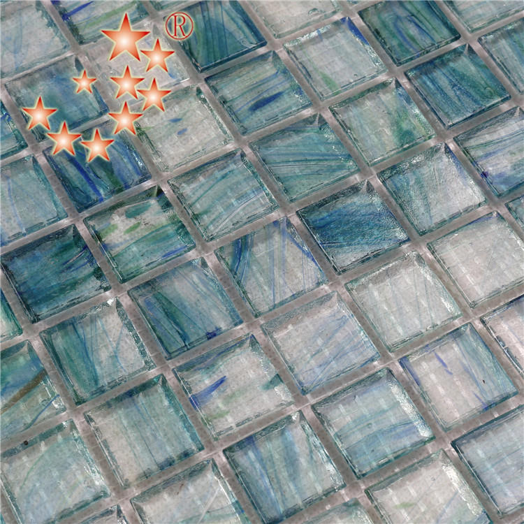 Light Blue Swimming Pool Glass Surround Tiles for Sale NA673