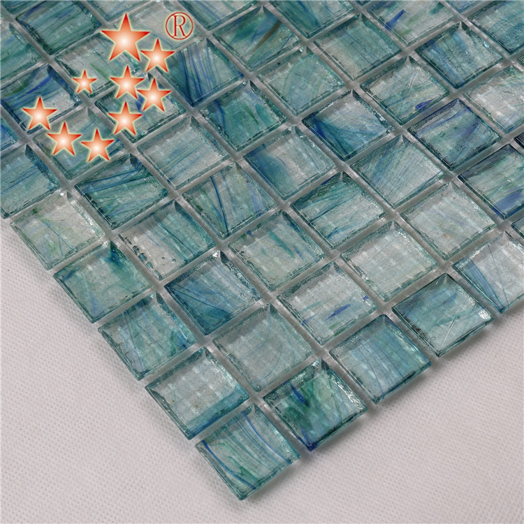 Heng Xing-Light Blue Swimming Pool Glass Surround Tiles for Sale NA673-1