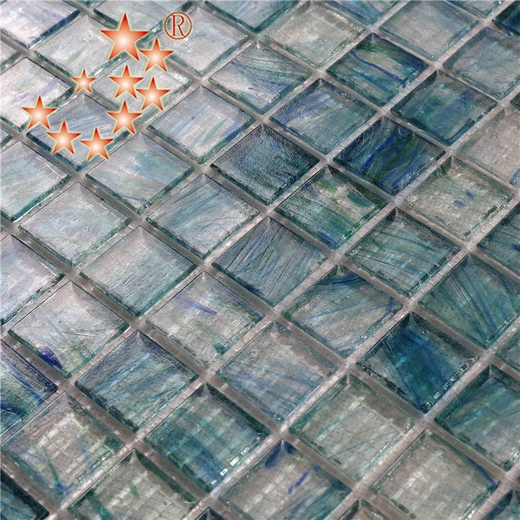 Heng Xing-Light Blue Swimming Pool Glass Surround Tiles for Sale NA673