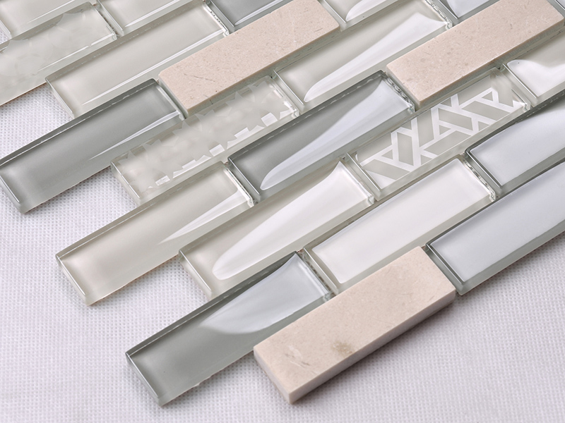 Heng Xing-White Pool Tile | Beige Glass Stone Mosaic Kitchen Strip Wall Tile-1