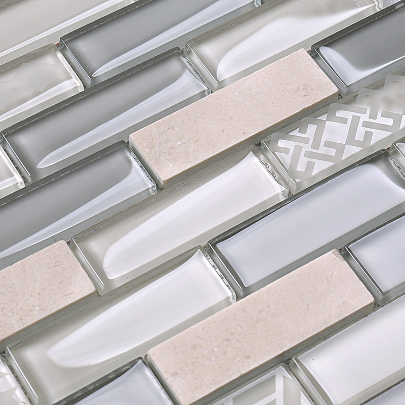Heng Xing-White Pool Tile | Beige Glass Stone Mosaic Kitchen Strip Wall Tile-2
