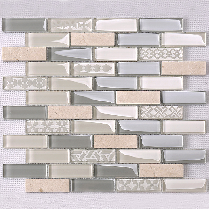 Heng Xing-White Pool Tile | Beige Glass Stone Mosaic Kitchen Strip Wall Tile-3