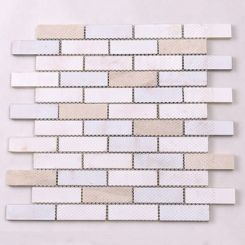 Heng Xing-White Pool Tile | Beige Glass Stone Mosaic Kitchen Strip Wall Tile-4