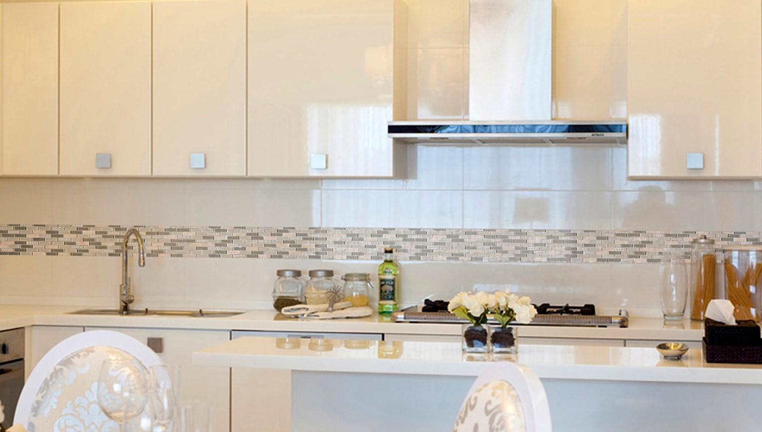 - White Pool Tile Beige Glass Stone Mosaic Kitchen Strip Wall Tile