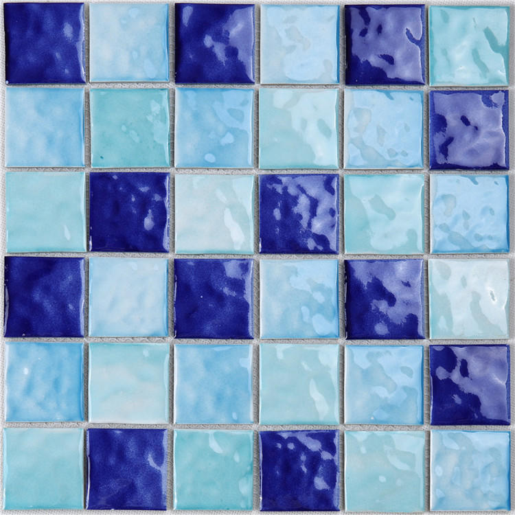 2x2 Blue Ceramic Mosaic Tile for Swimming Pool  HQT04