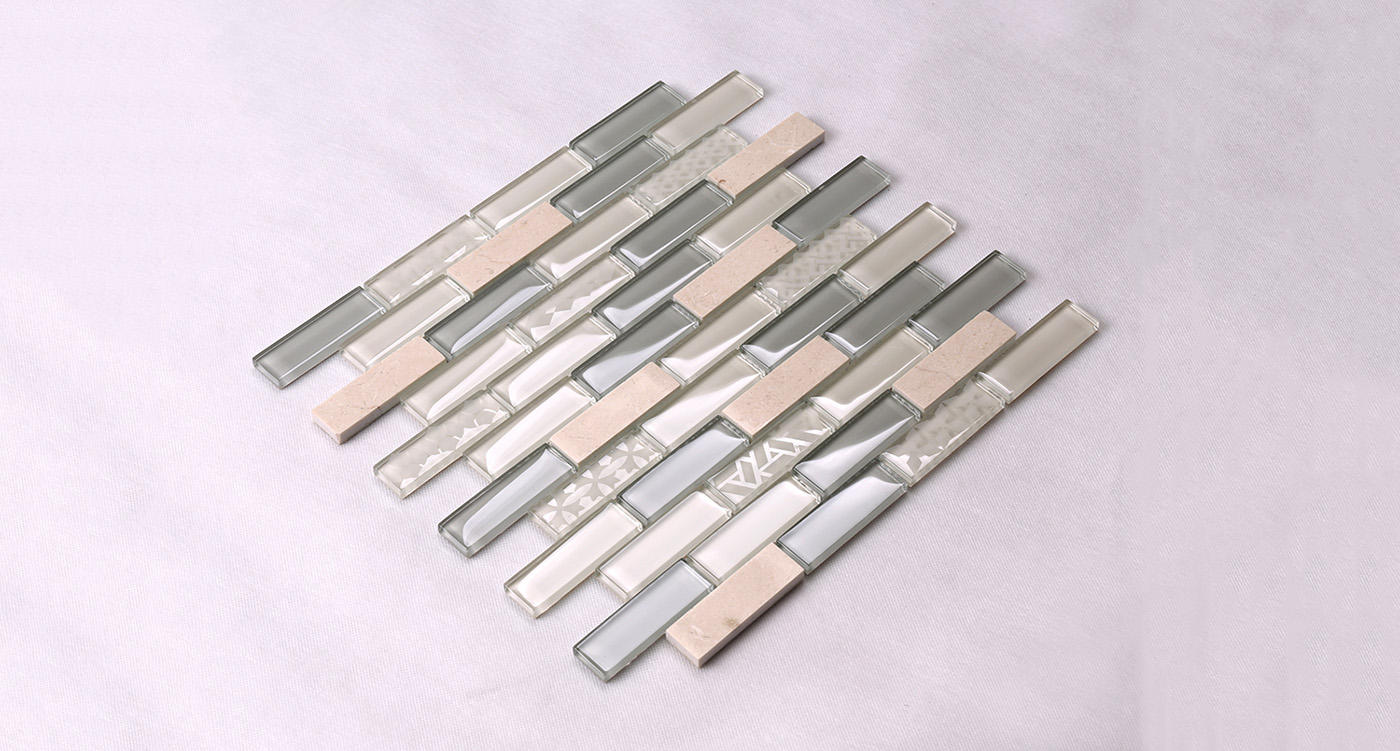 Heng Xing-White Pool Tile | Beige Glass Stone Mosaic Kitchen Strip Wall Tile