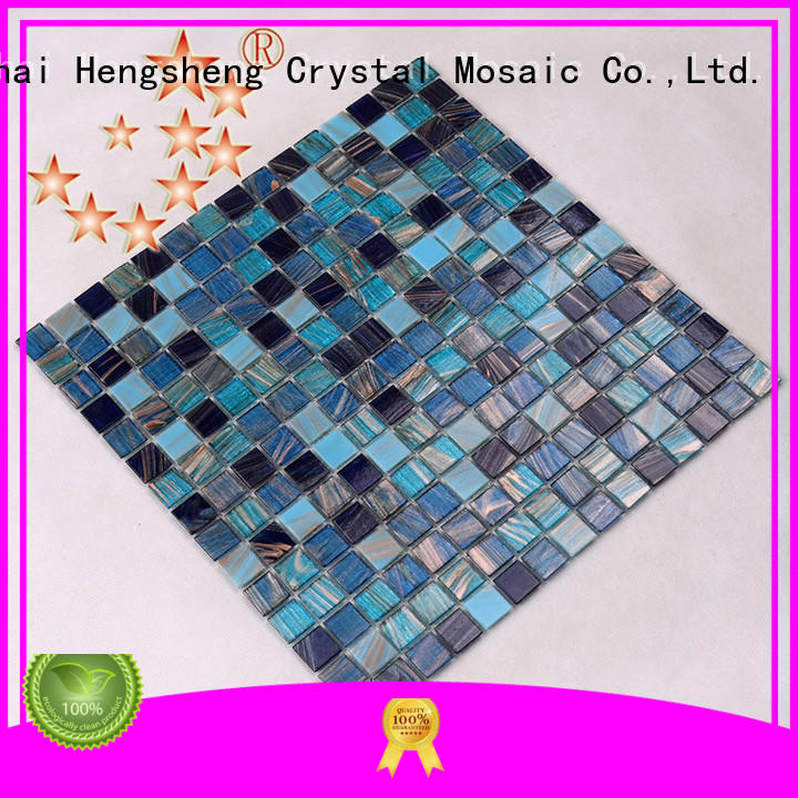 price light blue glass tile ceramic for fountain Heng Xing