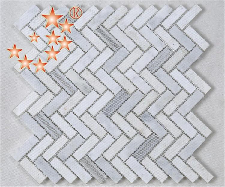 Heng Xing-White Herringbone Glass Stone Metal Mosaic YMS37-1