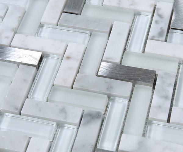 Heng Xing-Pool Glass Tile Manufacture | White Herringbone Glass Stone-2