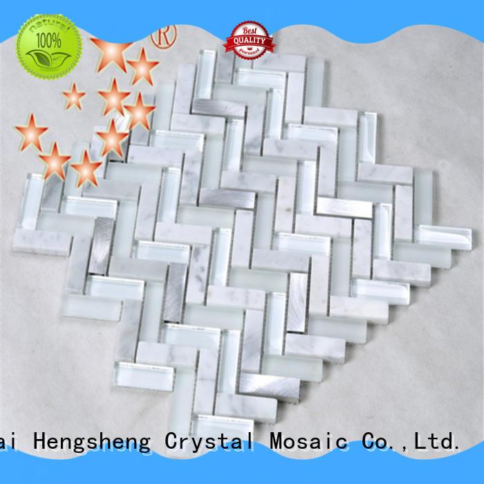 crystal green glass tile design for villa Heng Xing
