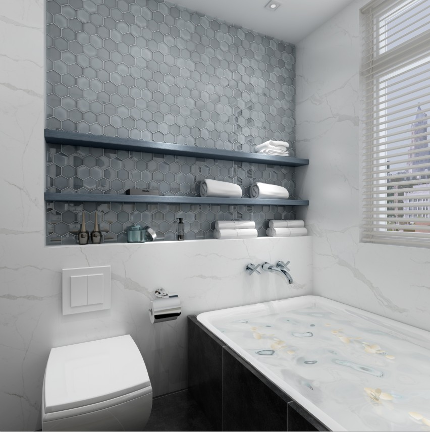 metallic white glass tile personalized for bathroom Heng Xing-6