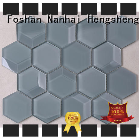 trapezoid glass mosaic tile factory price for living room
