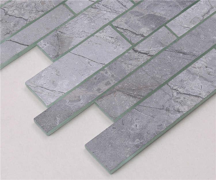 Heng Xing white gray glass subway tile backsplash for business-3