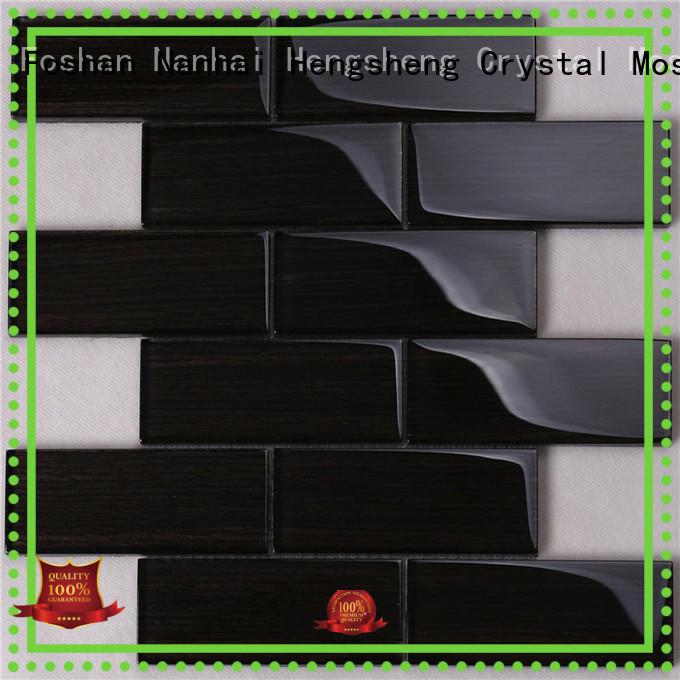 Black Wood-like Glass Brick Mosaic Tile