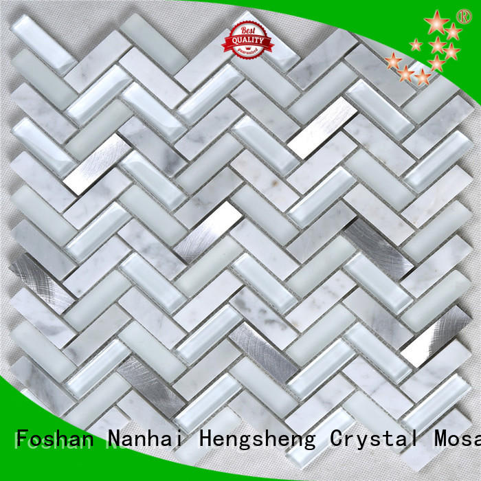 metallic white glass tile personalized for bathroom Heng Xing