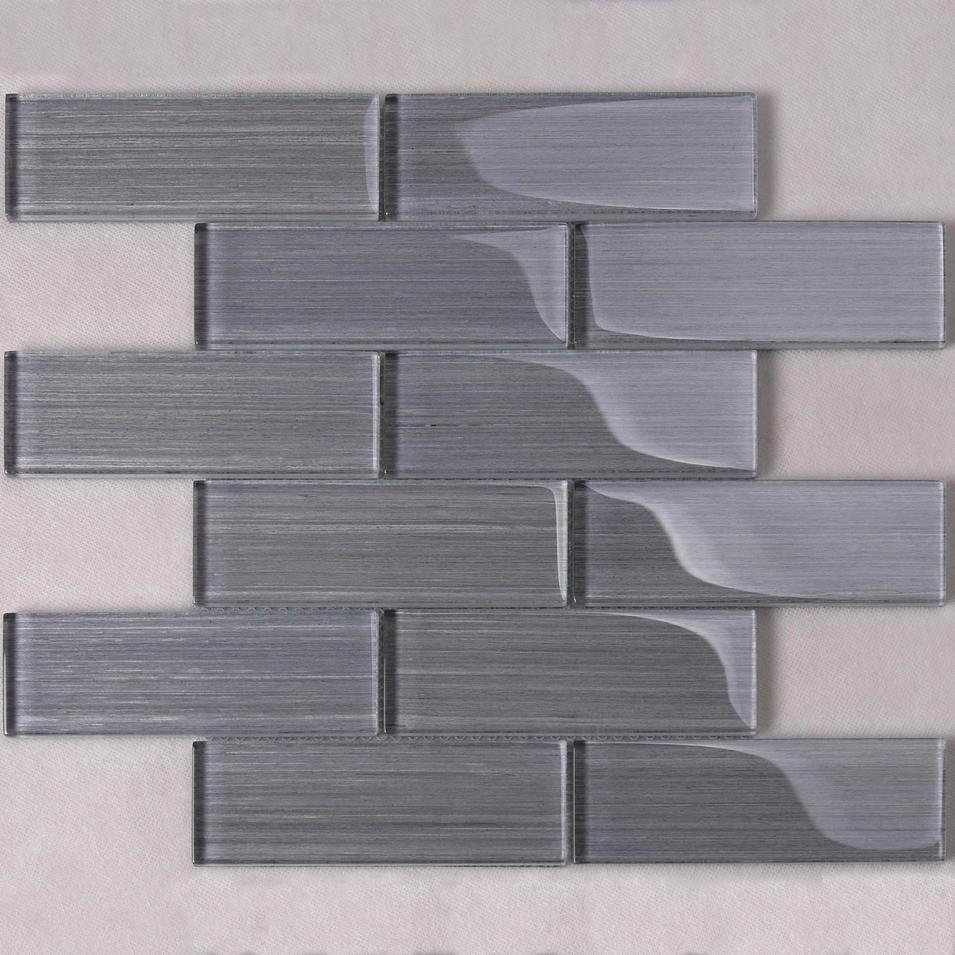 Grey Wood Grain Glass Mosaic Tile